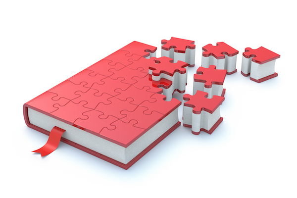 A book made of puzzle pieces